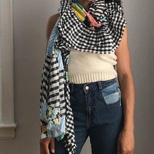 Zara Patchwork blanket scarf with ruffle